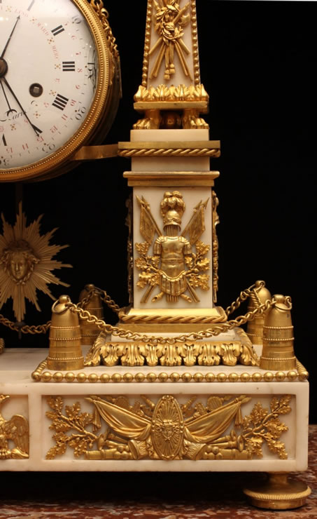 Louis XVI ormolu and marble portico mantle clock by Robinet