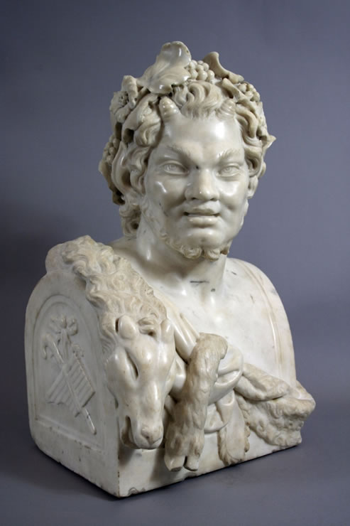 Antique Furniture  York on Fine White Marble Bust Of A Satyr  Truncated As A Herm And Wearing