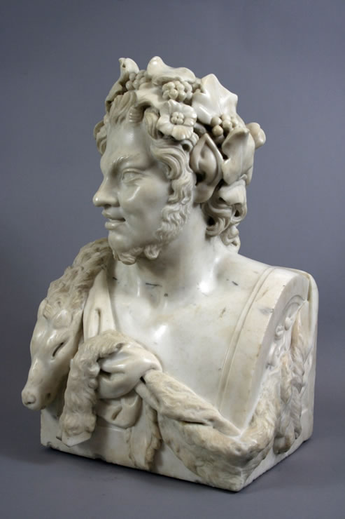 Fine white marble bust of a satyr attributed to Jean Raon (1630-1707)