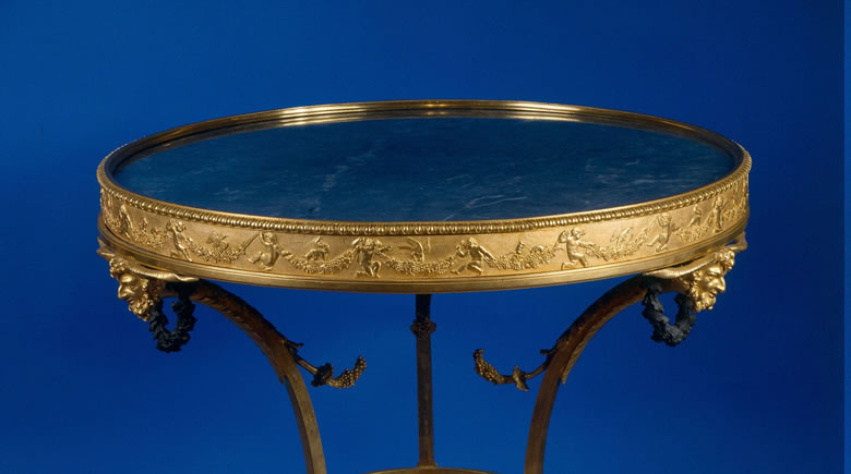 Magnificent Louis XVI <i>bronze dore and bronze patine gueridon with bleu turquin  marble top and base