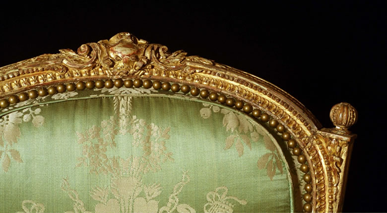 Transitional Louis XV/XVI armchair with original water and oil gilding