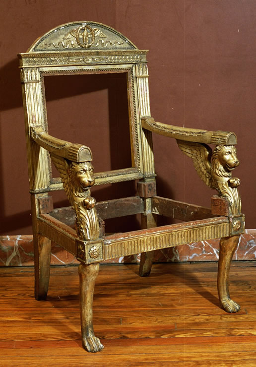 Italian Empire armchair with original gilding