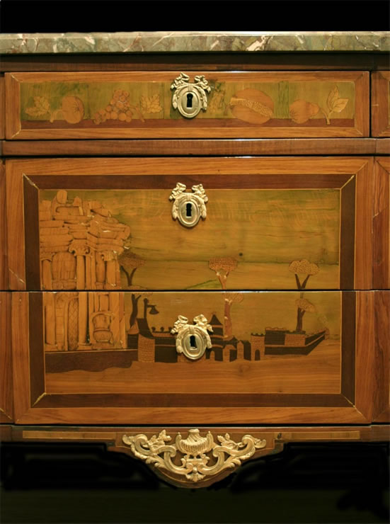 Transitional pictorial marquetry commode signed Schiler