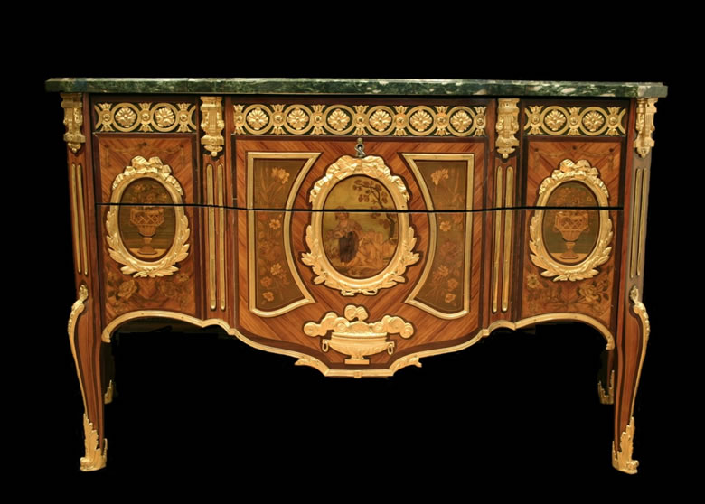 Transitional Louis XV/XVI commode attributed to Foullet