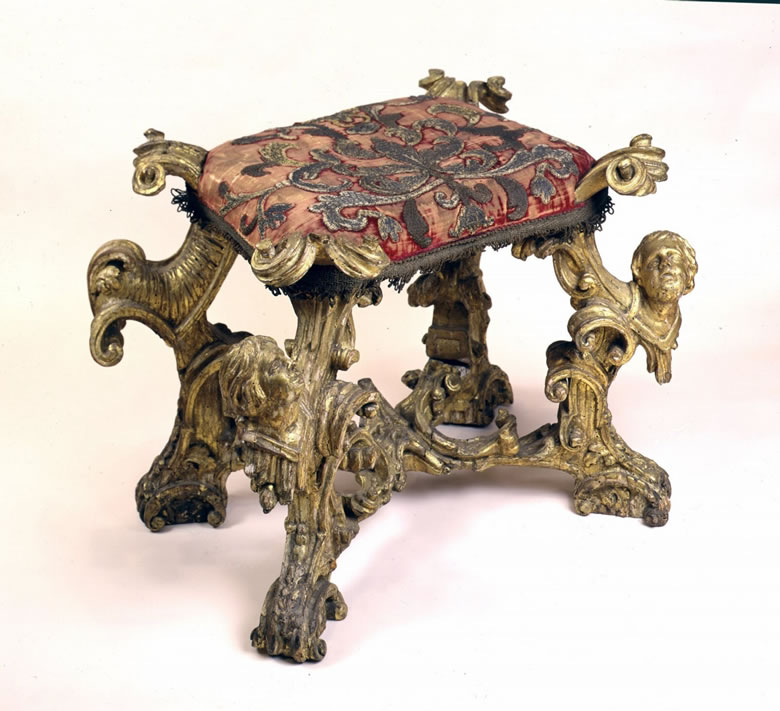Italian baroque gilded benches original upholstery of silver appliqué on crimson velvet