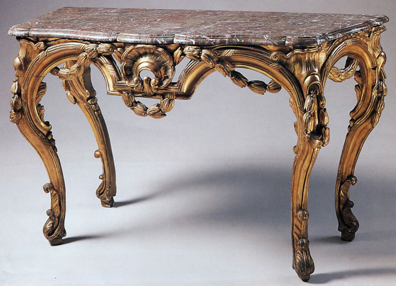 Louis XV/XVI transitional period carved and gilded console-table