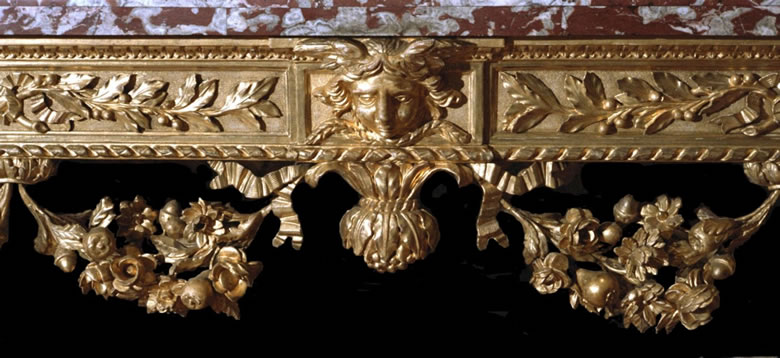Italian neoclassical carved and gilt console table