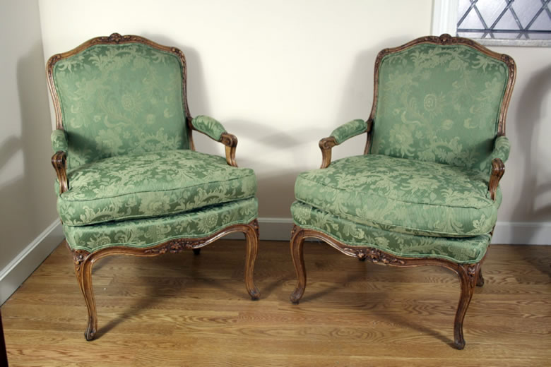 Pair well carved Louis XV beechwood fauteuils