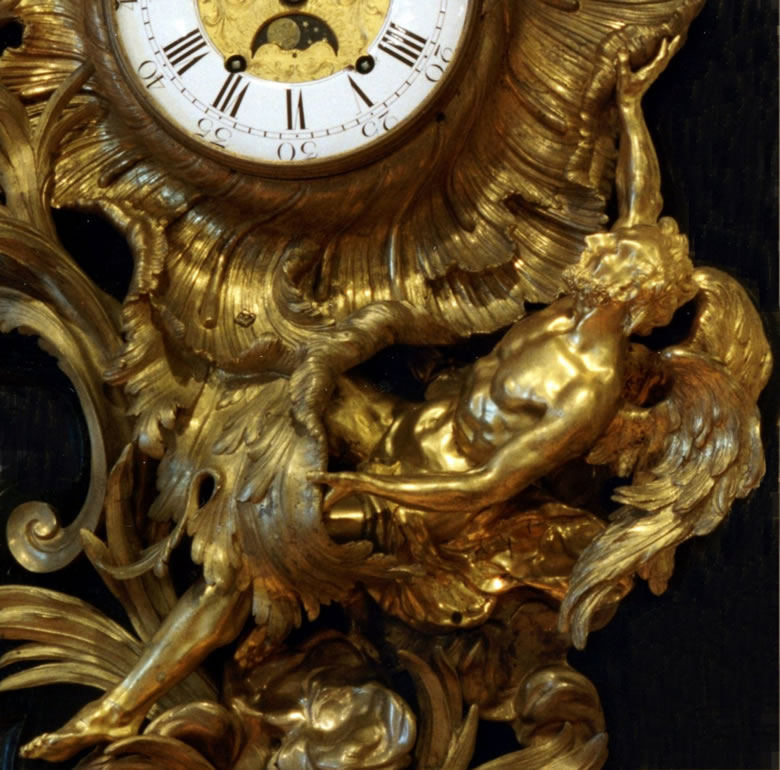 Rococo ormolu and bronze vernissé wall clock the Victory of Love over Time