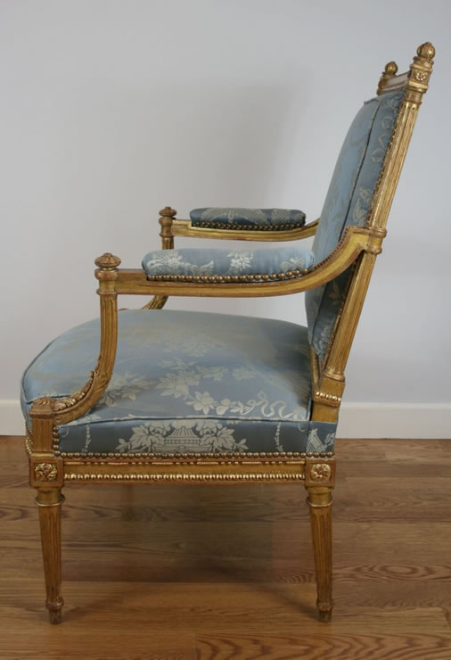 Pair gilded fauteuils attributed to Gaillard