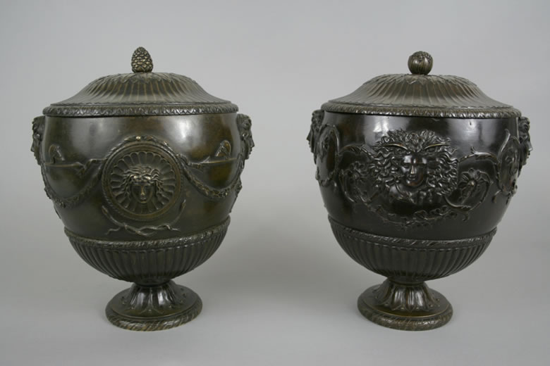 Pair Italian bronze cinerary vases