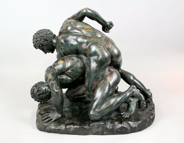 "Bronze statue of ""The Wrestlers"" after the antique"