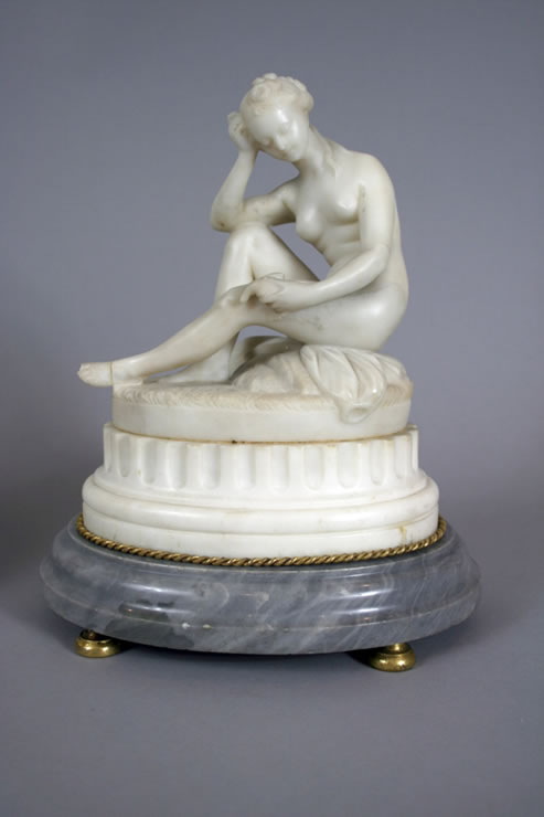Marble figures attributed to Jean Baptiste Broche