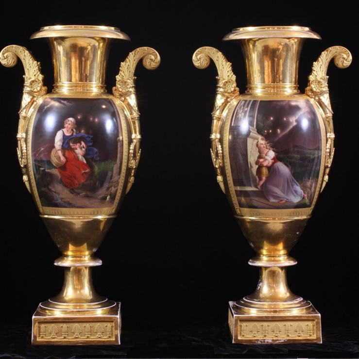 Pair Paris porcelain gilded and painted vases