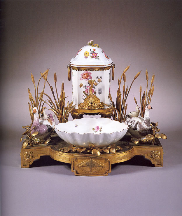 Louis XVI Meissen and Ormolu perfume fountain