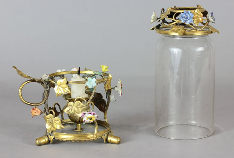Louis XVI gilded brass, porcelain and glass hurricane lamp