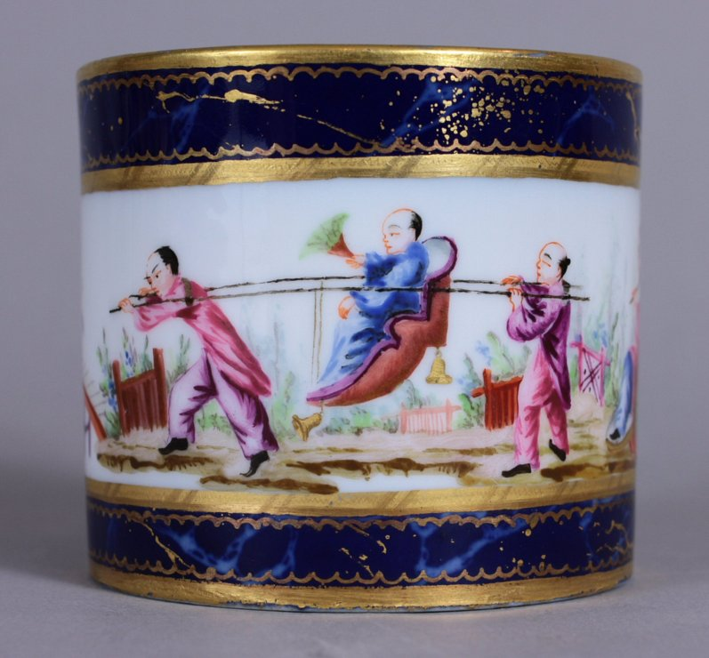 Sevres Chinoiserie cup and saucer decorated on all surfaces