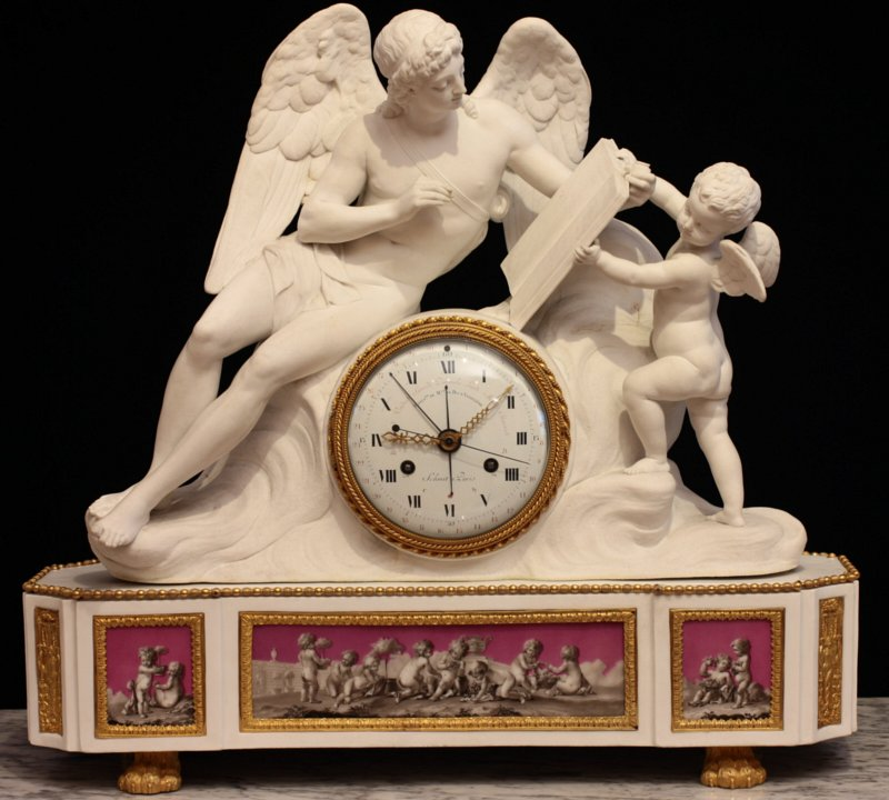 Angouleme biscuit clock with movement by Schmit dial by Coteau