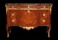 Transitional commode with sunburst motif