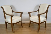 Pair of mahogany fauteuils signed Demay