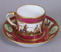 Sevres cerise and celadon Chinoiserie cup and saucer