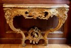Louis XV gilded console with original gilding and marble top